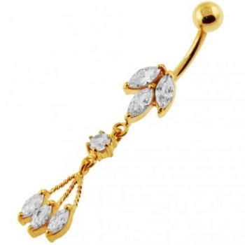 Buy 14G 10mm Yellow Gold Platted Silver Clear Jeweled Moving Fancy Belly Ring online