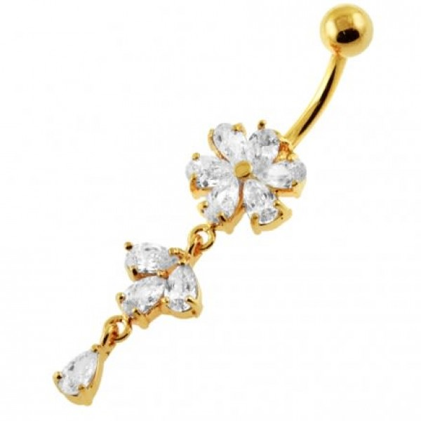 Buy 14G 10mm Yellow Gold Platted Silver Clear Jewel Moving Flower Design Belly Ring online