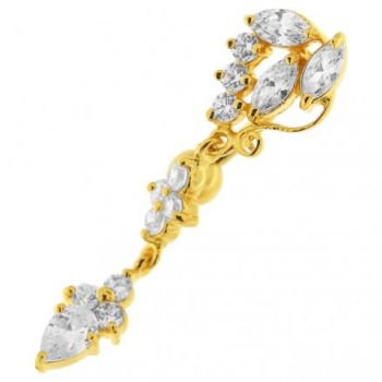 Buy 14G 10mm Yellow Gold Platted 925 Sterling Silver Clear Jeweled Fancy Belly Ring online