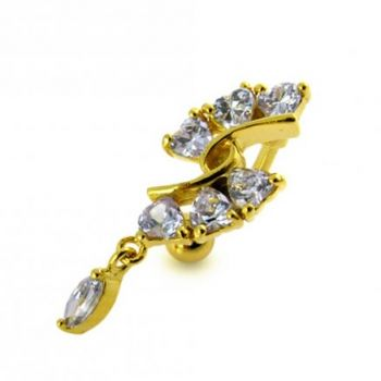 Buy 14G 10mm Yellow Gold Platted 925 Sterling Silver Clear Jewel Reverse Belly Ring online