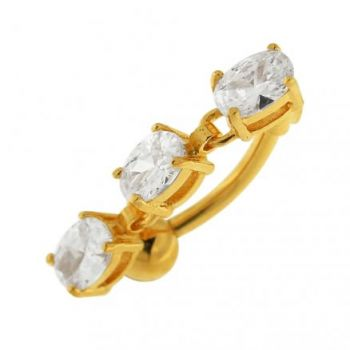 Buy 14G 10mm Yellow Gold Platted SterlingSilver Clear Jewel Fancy Charms Belly Ring online