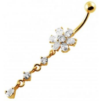 Buy 14G 10mm Yellow Gold Platted SterlingSilver Clear Jewel Flower Curve Belly Ring online