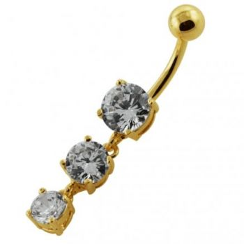 Buy 14G 10mm Yellow Gold Platted Sterling Silver Clear Jewel 3 Charms Belly Ring online