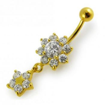 Buy 14G 10mm Yellow Gold Platted Sterling Silver Clear Jewel Flower Star Belly Ring online