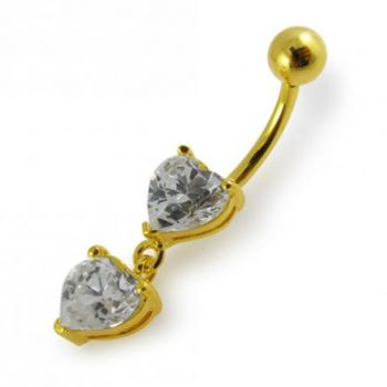 Buy 14G 10mm Yellow Gold Platted 925 Sterling Silver Clear Jewel Heart Belly Ring online