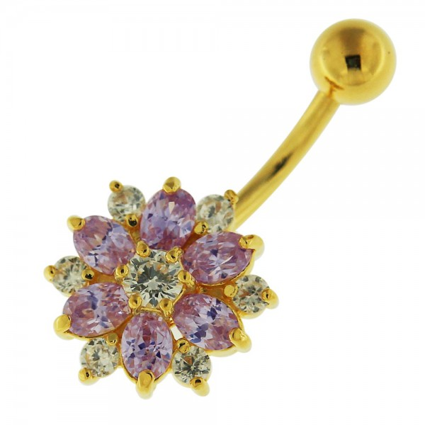 Buy 14G 10mm Yellow Gold Plated Silver Lavander Jewel Double Color Flower Belly Bar online