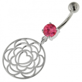 Buy 925 Sterling Silver center Heart Cutout Belly Button Ring online