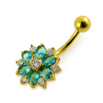 Buy 14G 10mm Yellow Gold Plated Silver Aquamarine Jeweled 2 Color Flower Belly Bar online