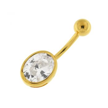 Buy 14G 10mm Yellow Gold Plated Sterlin Silver Clear Jeweled Single Oval Belly Bar online