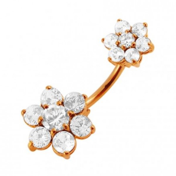 Buy Ross Gold Platted Jeweled Sister Flowers Spinal Belly Button Ring online