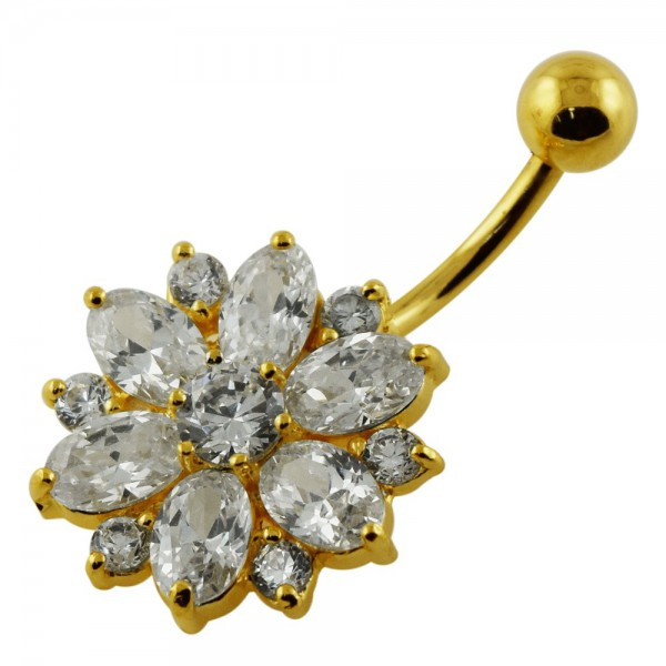 Buy 14G 10mm Yellow Gold Plated Sterlin Silver Clear Jewel Fantasy Flower Belly Bar online