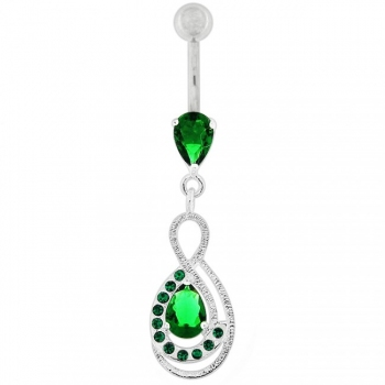 Buy Tear Drop CZ with Fusion Infinity Dangling Belly Button Ring online