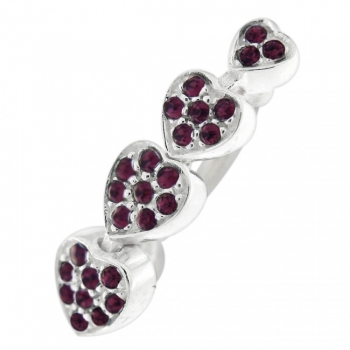 Buy Multi Jeweled 4 Hearts Reverse Dangling Belly Button Ring online