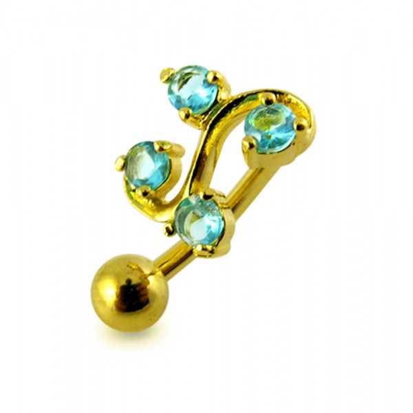 Buy 14G 10mm Yellow Gold Plated Silver Aquamarine Jeweled Tetra Fancy Belly Bar online