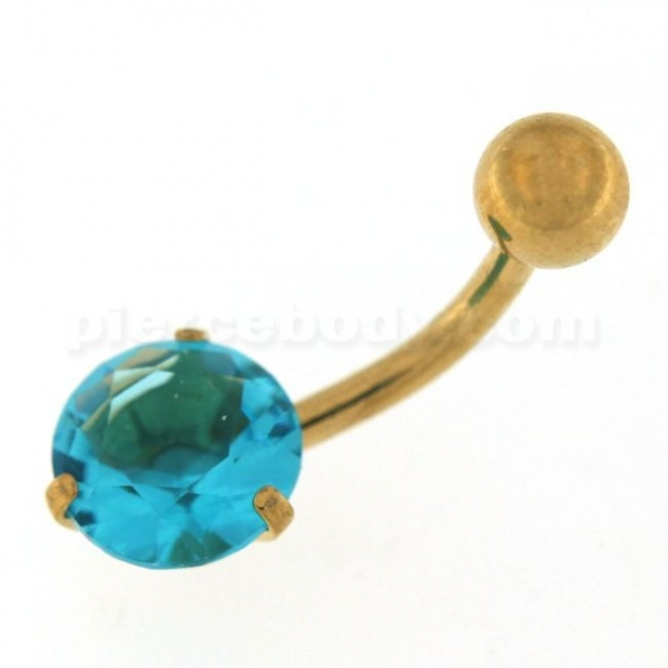 Buy 8mm Round Jeweled Gold PVD Surgical Steel Belly Button Piercing online