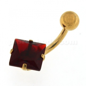 Buy 8mm Jeweled Square Gold PVD Belly button Ring online