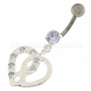 Buy Jeweled Love Twin Hearts Sterling Silver Belly Button Piercing online
