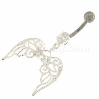 Buy Angel Wings with Floral 925 Sterling Silver Belly Ring online
