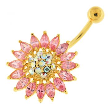 Buy 14G 10mm Yellow Gold Plated Silver Pink Jeweled Sun Flower Non-Moving Belly Bar online