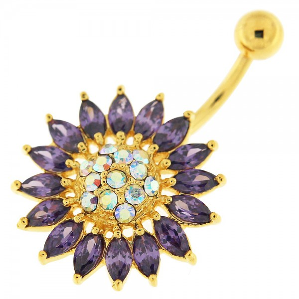 Buy 14G 10mm Yellow Gold Plated Silver Amethyst Jewel SunFlower NonMoving Belly Bar online