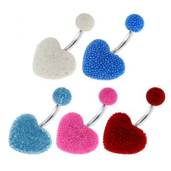 Buy Surgical Steel Navel Bar with Colorful Tine Bead Heart and Ball online