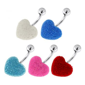 Buy Surgical Steel Navel Bar with Colorful Tiny Bead Heart online