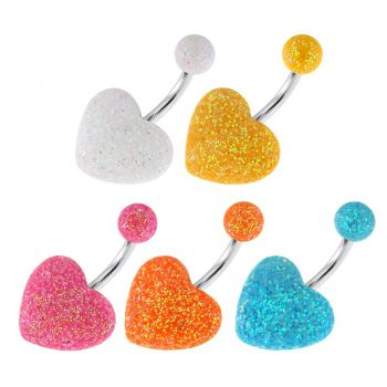 Buy Surgical Steel Navel Bar with Colorful Glitter Heart and Glitter Ball online