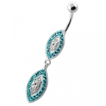 Buy Multi Jeweled Twin Oval belly bar online