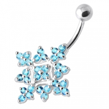 Buy Multi Jeweled Big Flower Non Dangling Belly Bar online