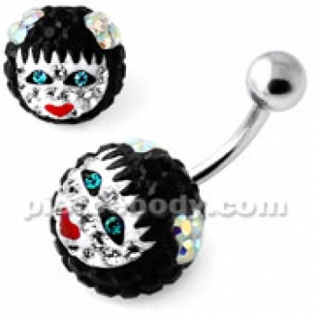 Buy Multi Crystal stone Girl face Cared in Pumpkin belly Ring online