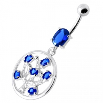 Buy Jeweled Dangling Round Frame Belly Bar PBM2096 online