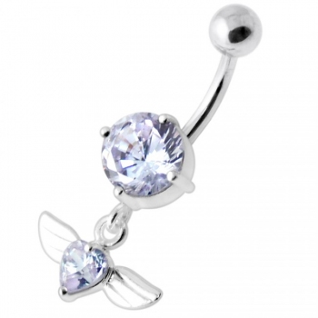 Buy Jeweled Flying Heart Silver Belly Bar online
