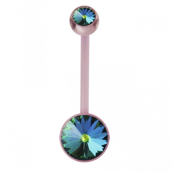 Buy Pink BioFlex base Jeweled Belly Ring online
