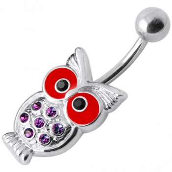 Buy Jeweled Owl Silver Belly Ring online