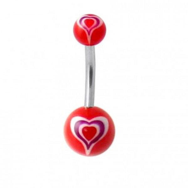 Buy Belly Bar with Heart UV balls online