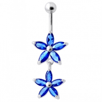Buy Jeweled Multi Flower Silver Dangling Belly Button Ring online