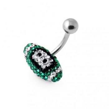 Buy Emerald Crystal Rugby Ball Belly Ring online