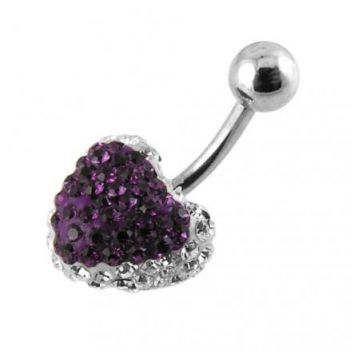 Buy Purple Crystal stone Heart Belly Ring With SS Banana Bar online