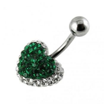Buy Lush Green Crystal stone Fancy Heart SS Curved Bar Belly Ring online