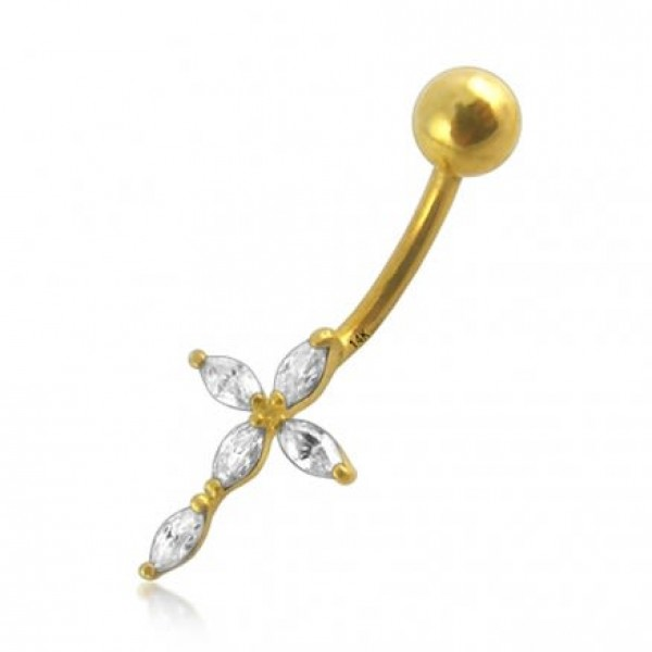 Buy Jeweled 14K Gold Cross Belly Ring online