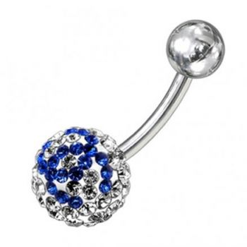 Buy preciosa Blue And White Crystal stone Round Curved Bar Belly Ring online