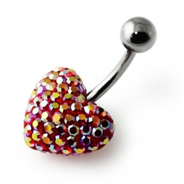 Buy Red With White Crystal stone Heart SS Curved Bar Belly Ring FDBLY633 online