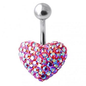 Buy Red Crystal Stone Cherry Heart With Curved Bar Belly Ring online