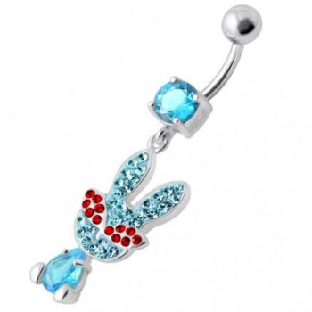 Buy Fancy Rabbit Jeweled Dangling Curved Bar Belly Ring online