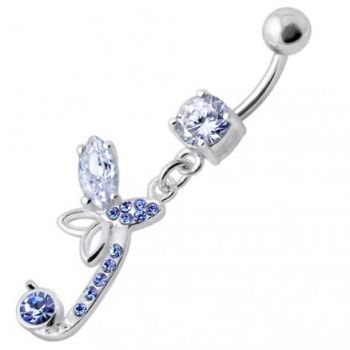 Buy Sterling Silver Fancy Butterfly Jeweled Dangling Curved Bar Belly Ring online