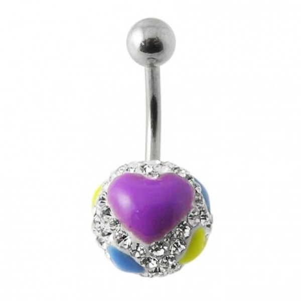 Buy Crystal stone Jeweled With Enamel Print Heart Belly Ring online