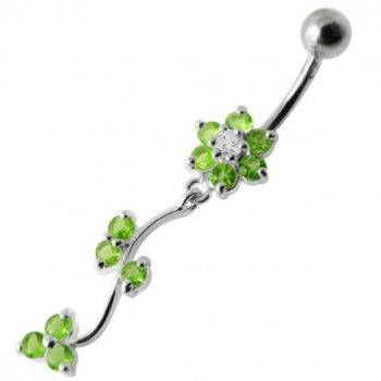 Buy Jeweled Red Dangling Flower SS Bar Belly Ring online