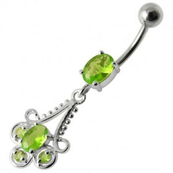 Buy Fancy Blue Stone Jeweled Dangling 316L SS Bar Belly Ring online