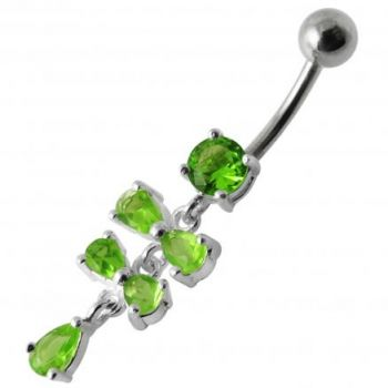 Buy Fancy Silver Blue Stone Studded Jeweled Dangling SS Belly Ring online