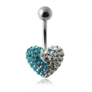 Buy 12MM Crystal Stone Heart Ying Yang Belly Ring online